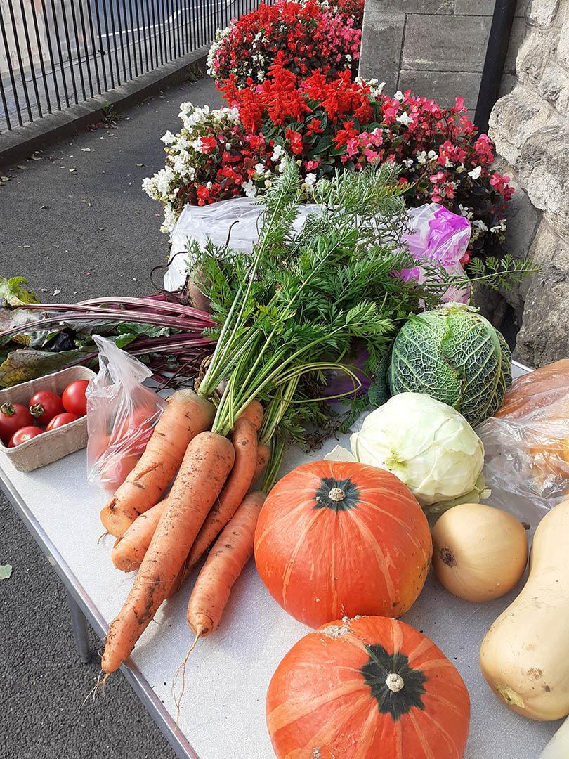 A sharing table of fresh vegetables in Peasedown St John