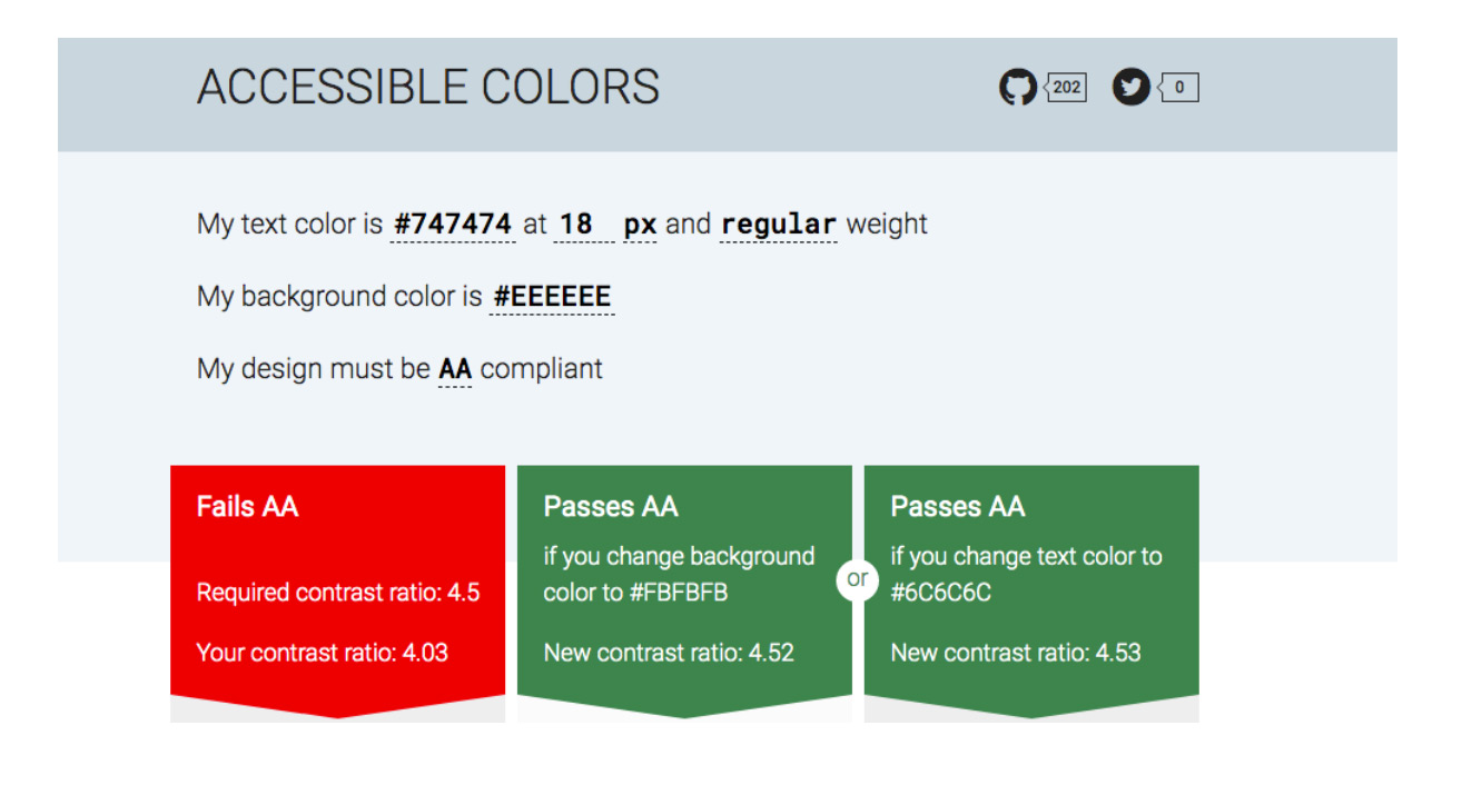 Accessible Colours graphic showing AA compiance