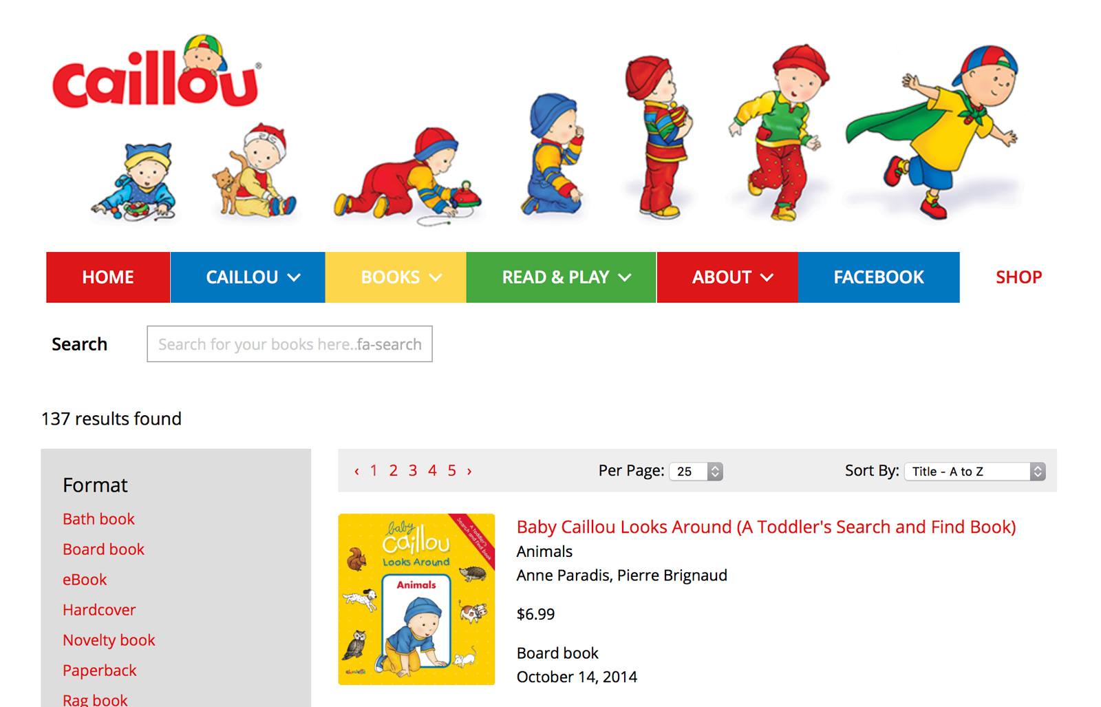 New ecommerce website for Chouette imprint Caillou