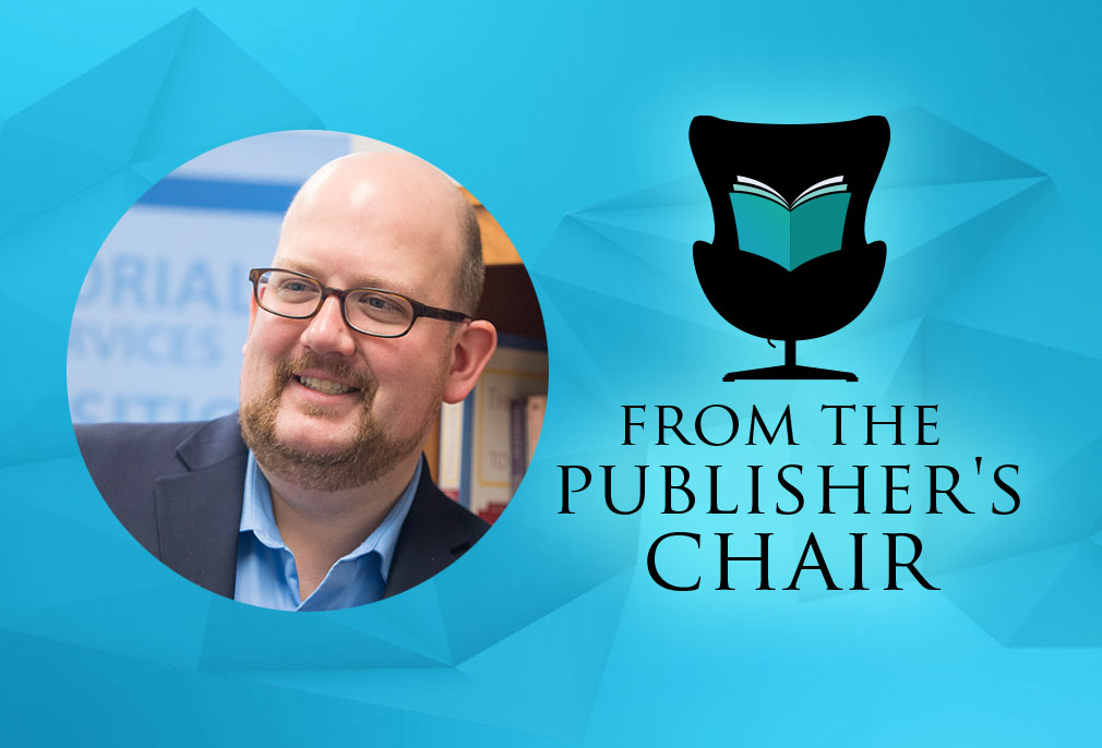 Tyler Carey in the Publisher's Chair