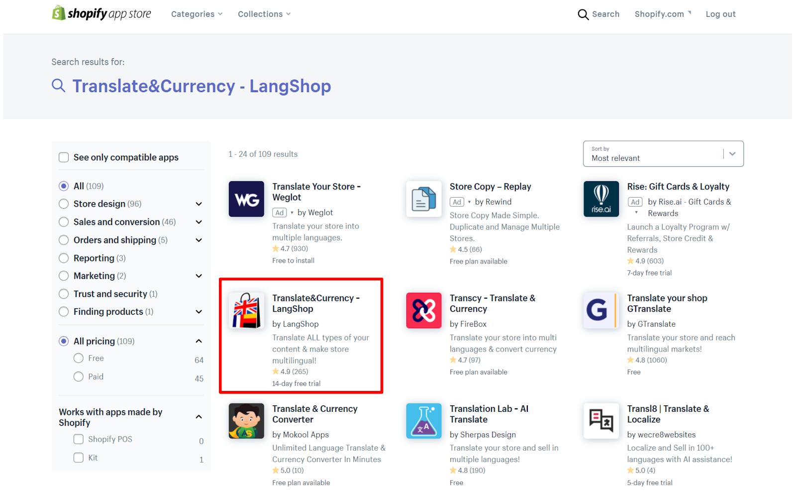 shopifyアプリストア画像