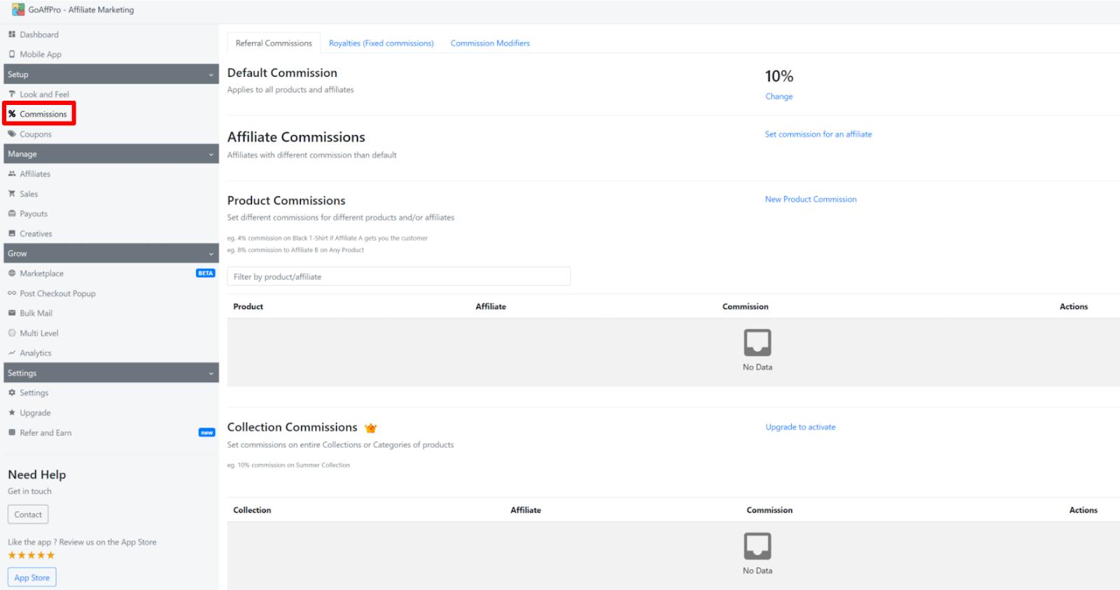 コミッション設定画面