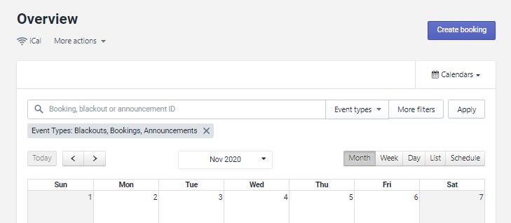 Calendar overview画面
