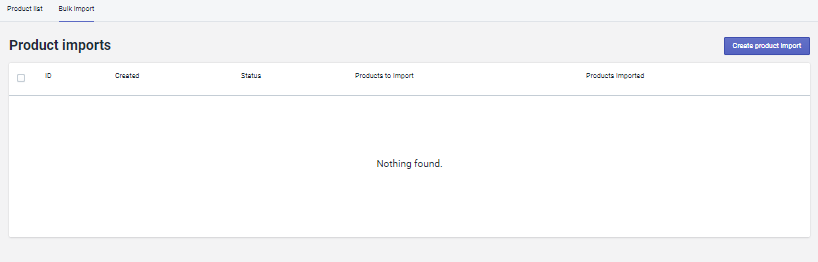 Bulk import画面