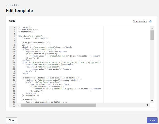 Edit template画面