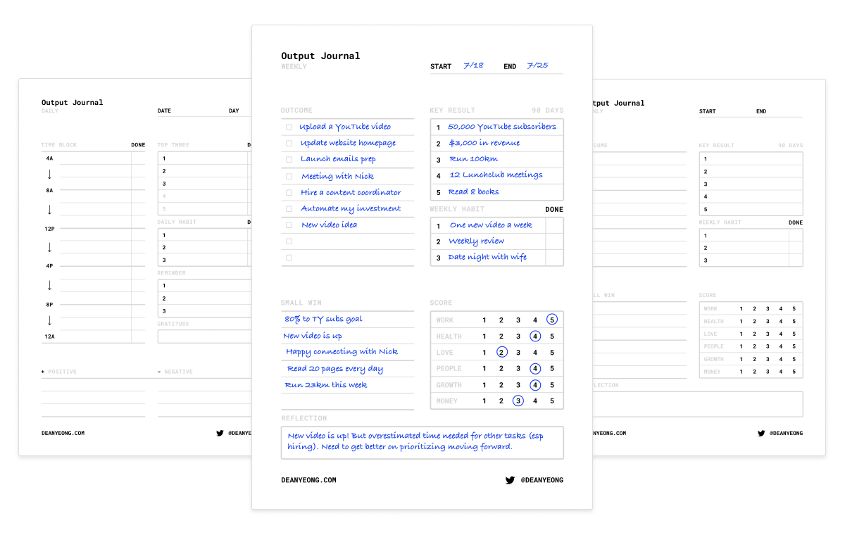 Output Journal template preview