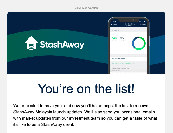 StashAway waitlist confirmation email