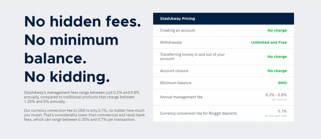 StashAway fees and pricing details