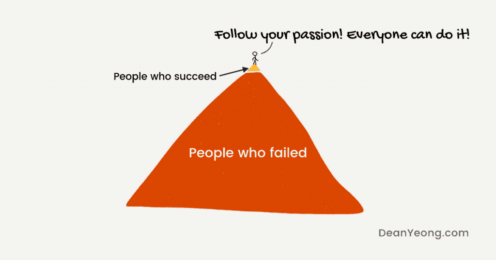 "Survivorship bias on the advice ""follow your passion"""