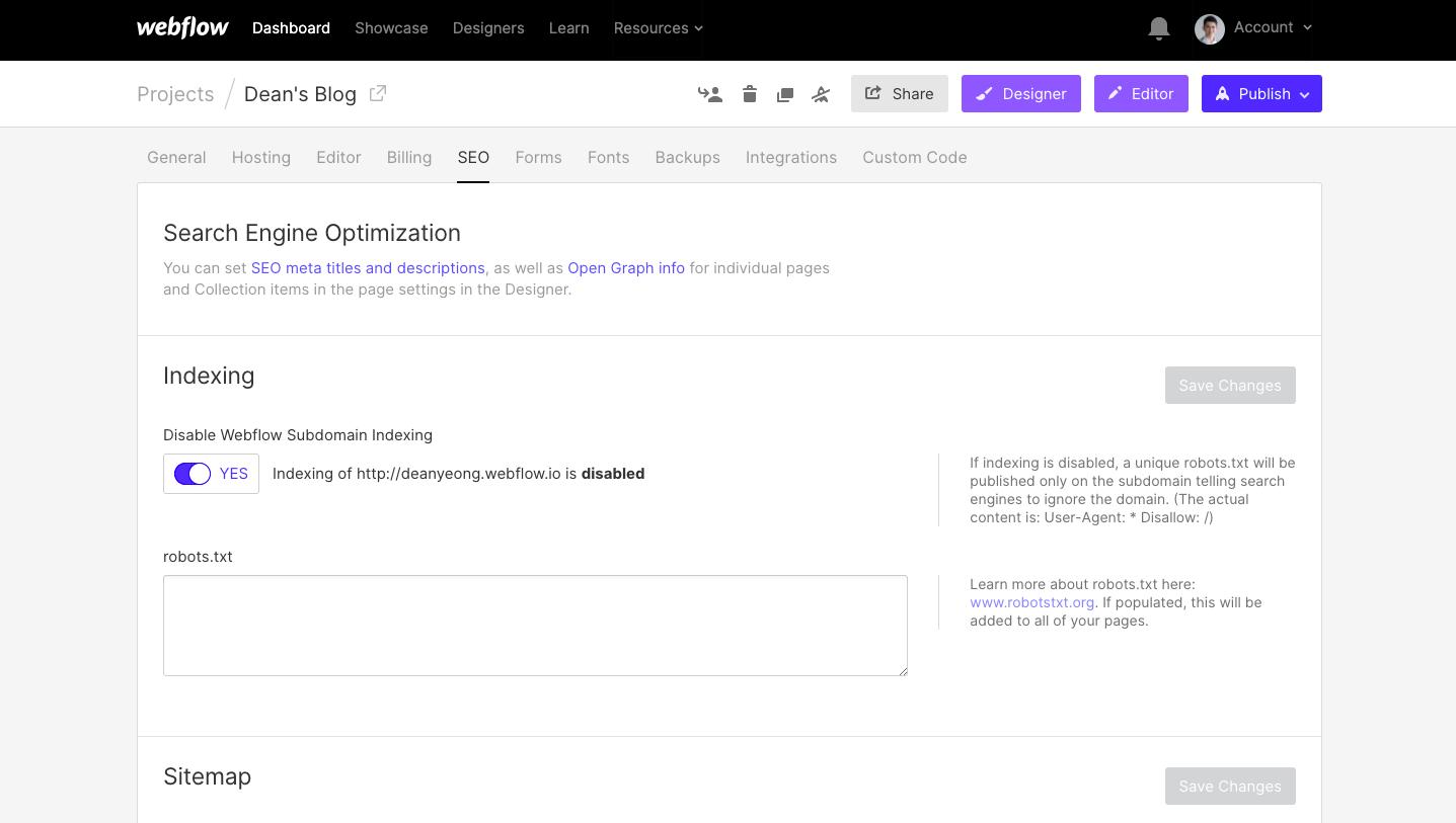 Webflow SEO setting dashboard