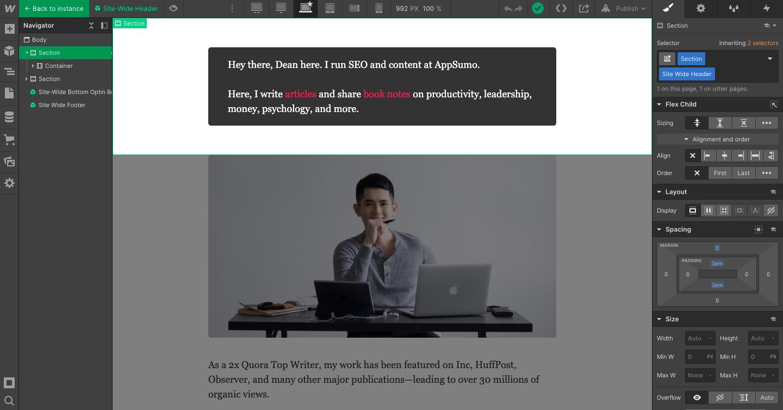 Webflow editor interface