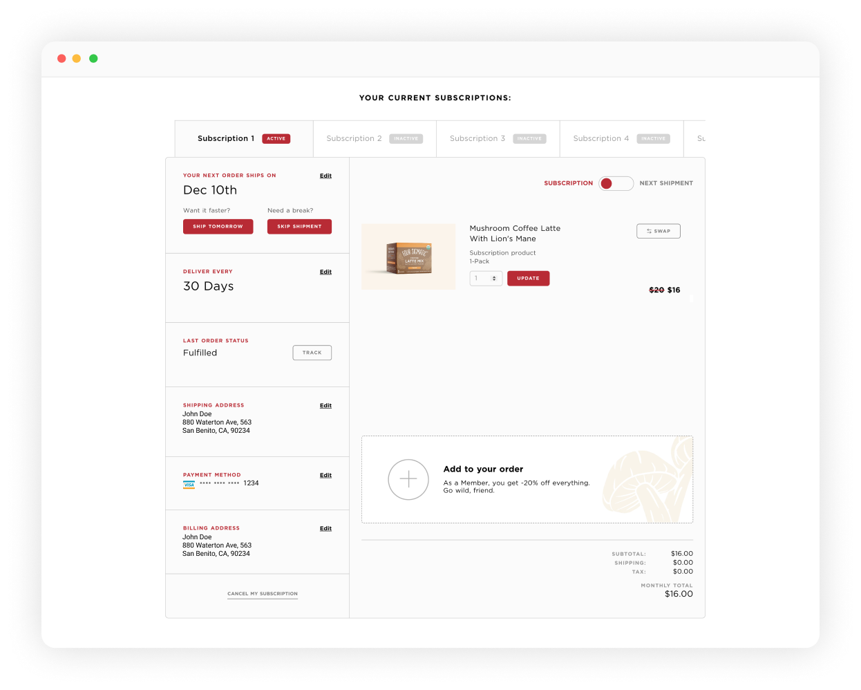 Four Sigmatic Customer Portal