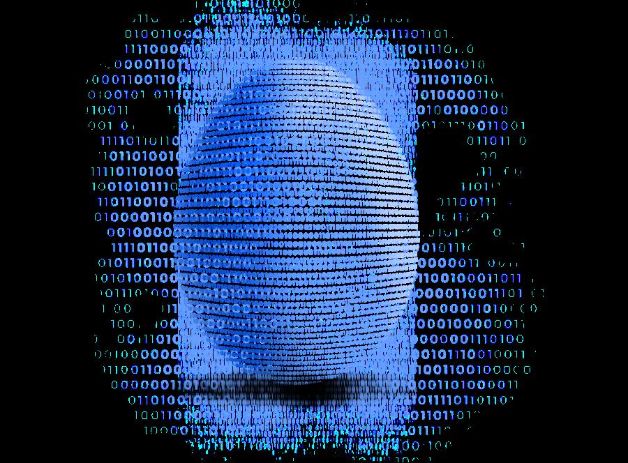 Ein Ei; dargestellt durch Nullen und Einsen