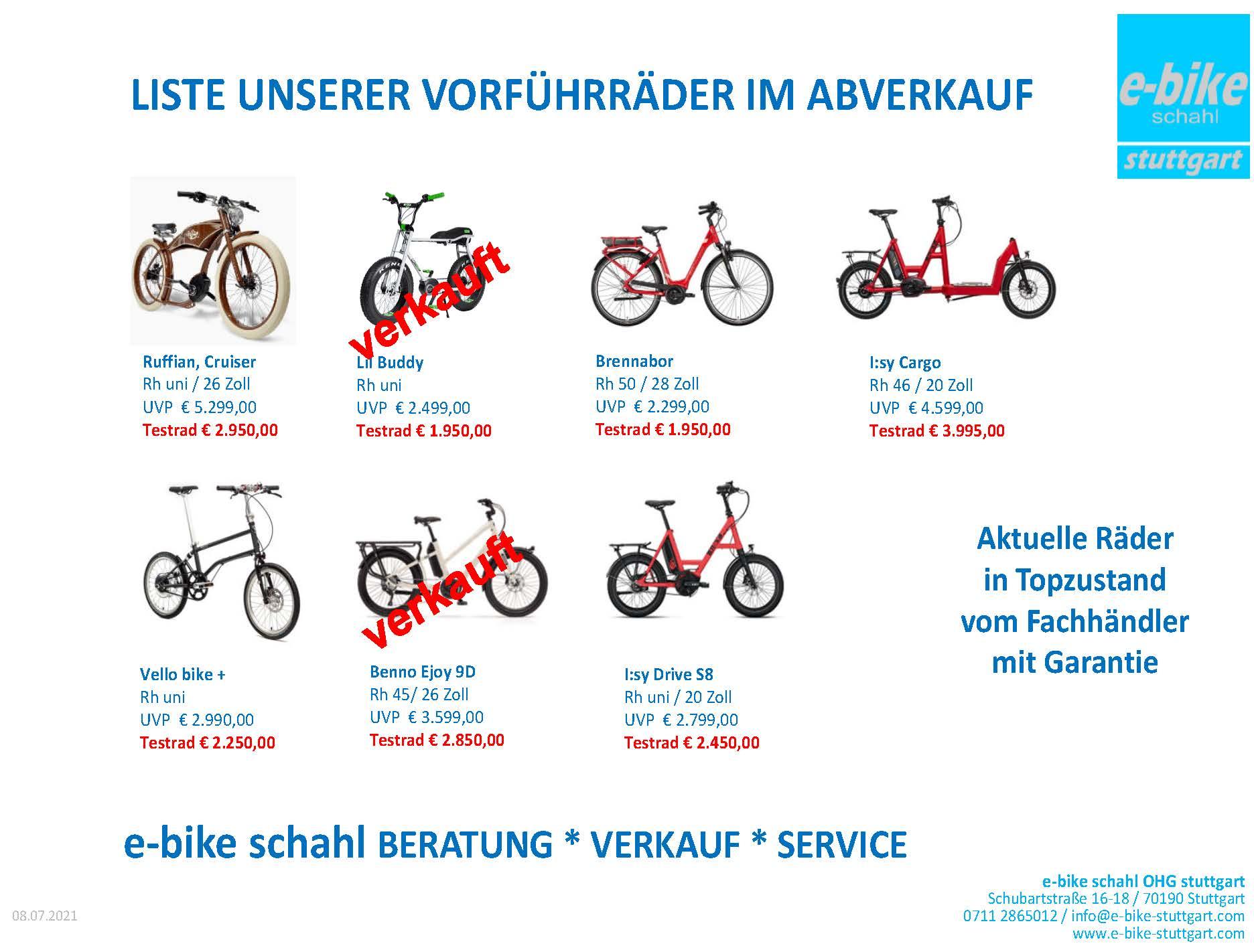 Die Liste aller Abverkaufsräder also der Räder, die im Laden vorhanden sind und zum Kauf bereitstehen