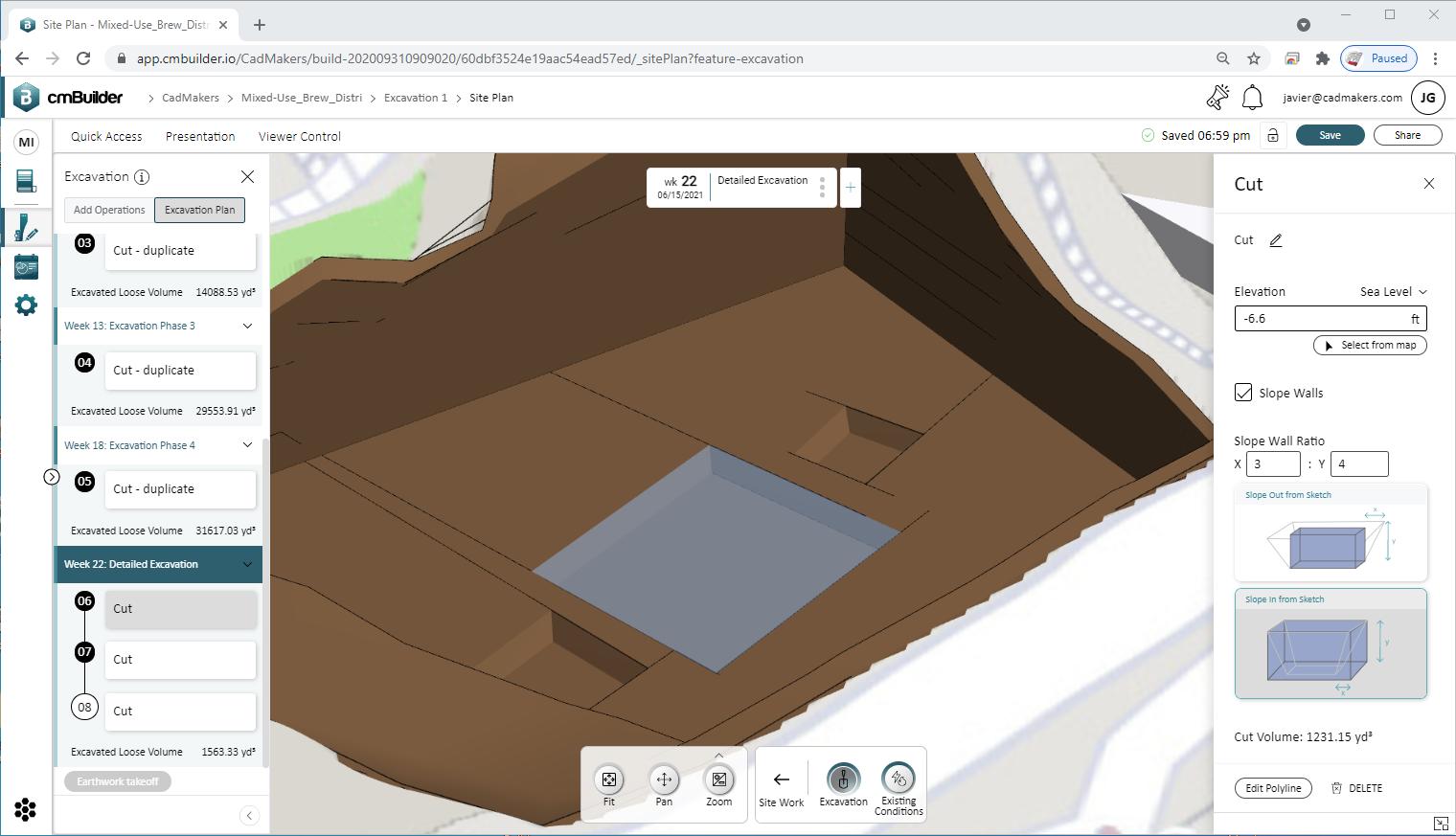 excavation planning on cmBuilder