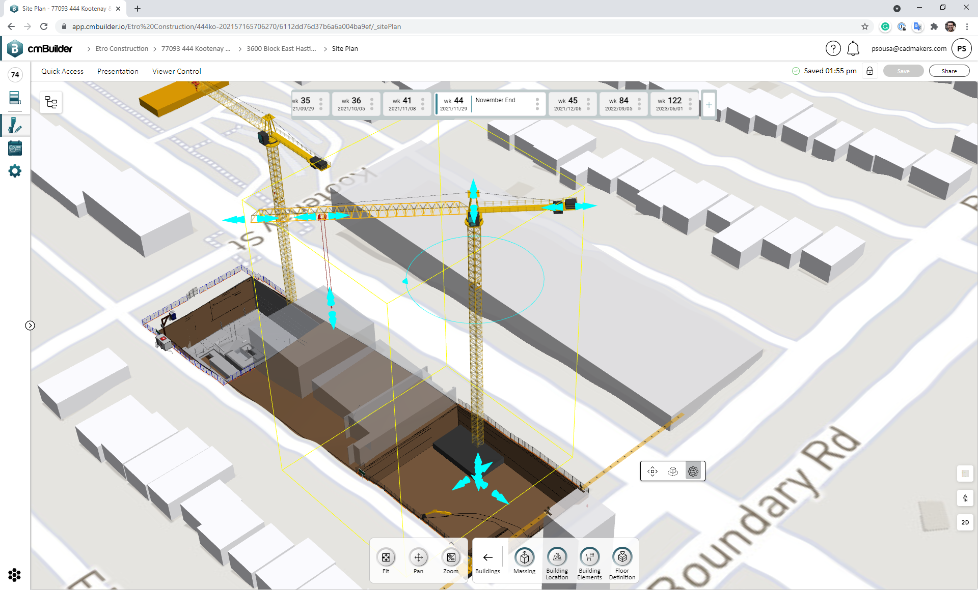 Simulating site resources with cmBuilder's extensive catalog of 3D parametric resource models.