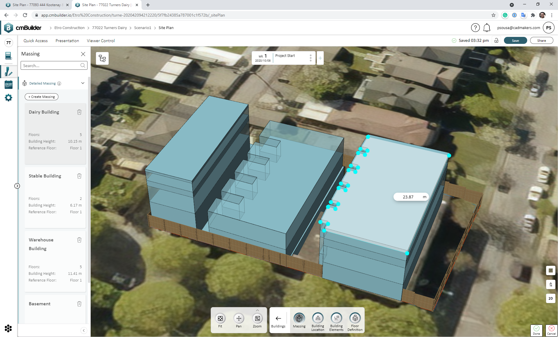 Create a low-detail representation of the building using the massing feature on cmBuilder.io