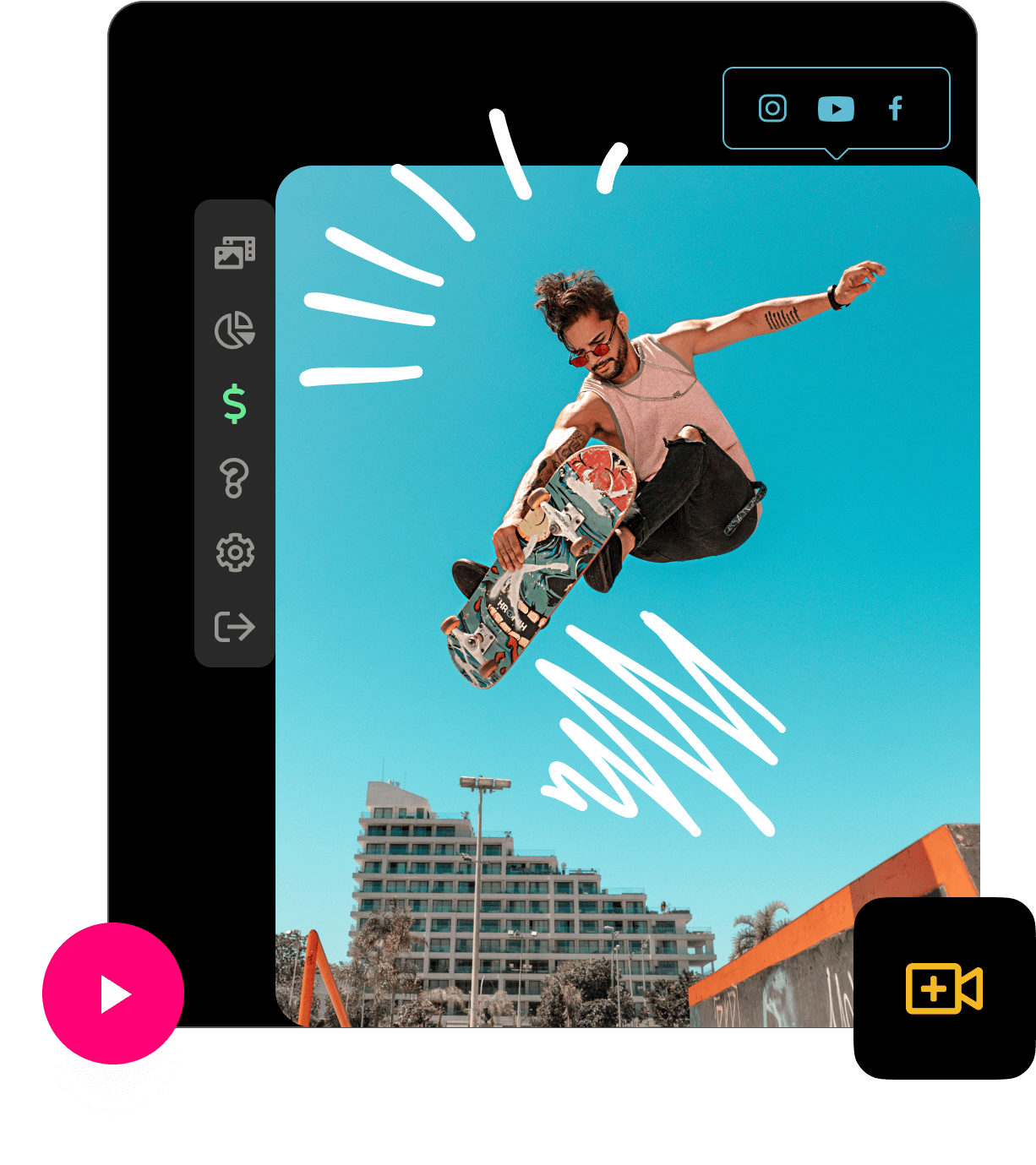 Product screen example with man jumping on skateboard