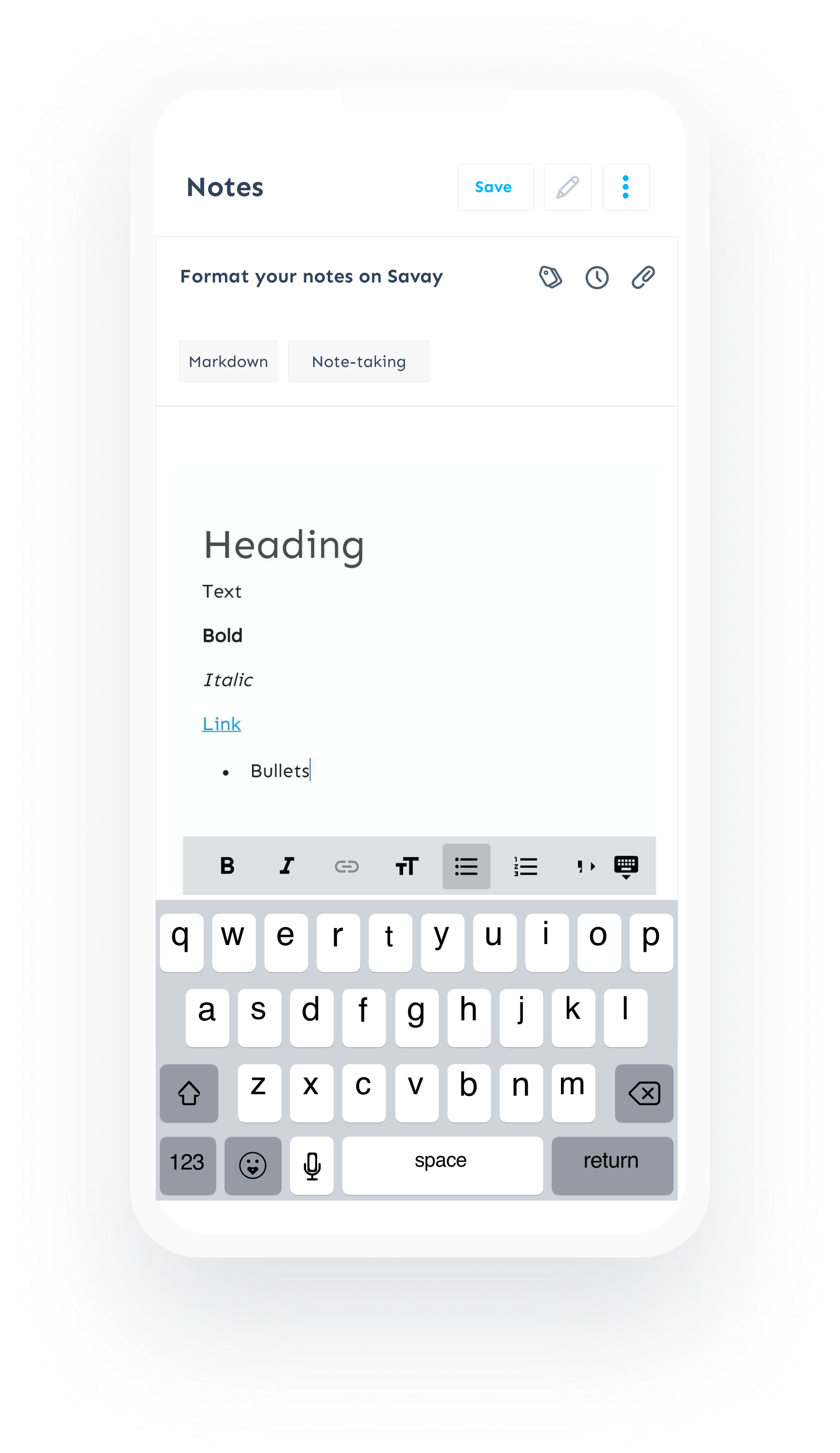 Note taking app feature