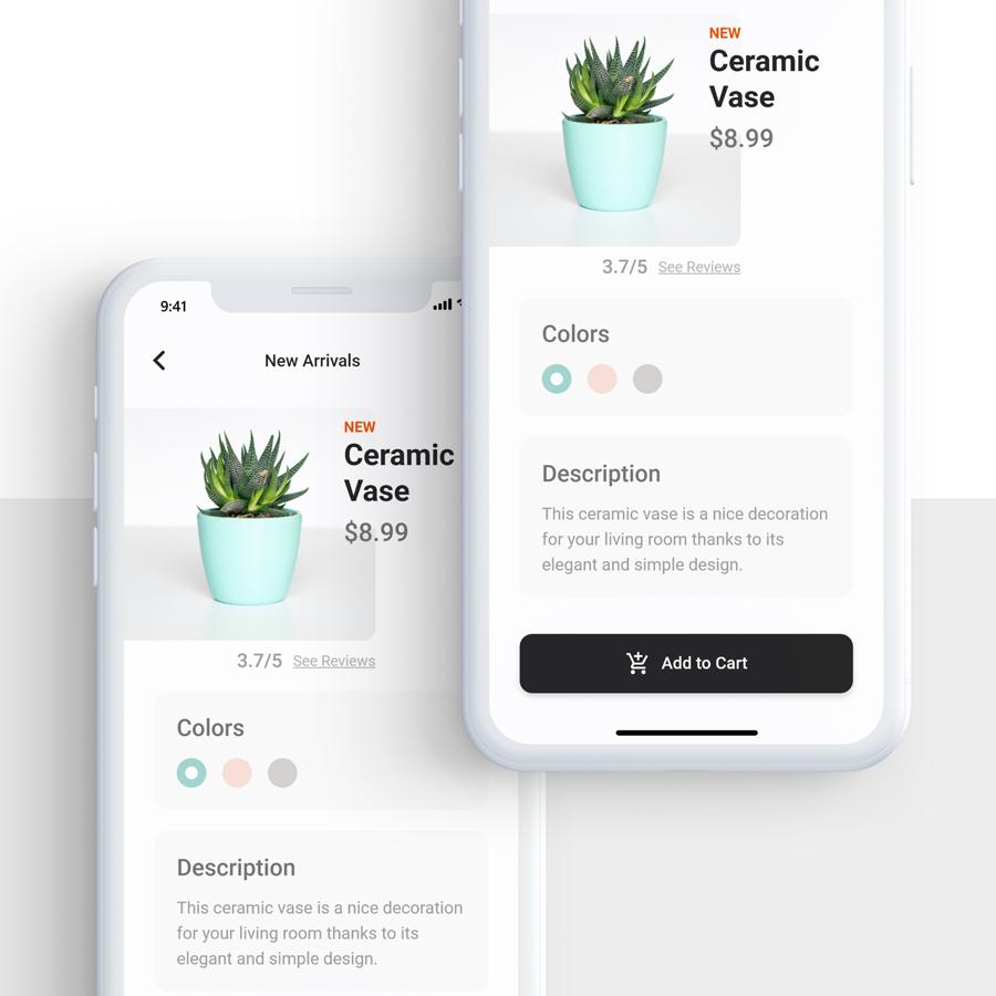 Ukázka aplikace s detailem produktu.