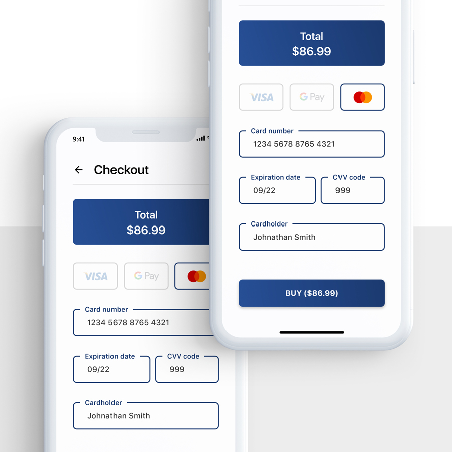 Ukázka aplikace s dokončením objednávky.
