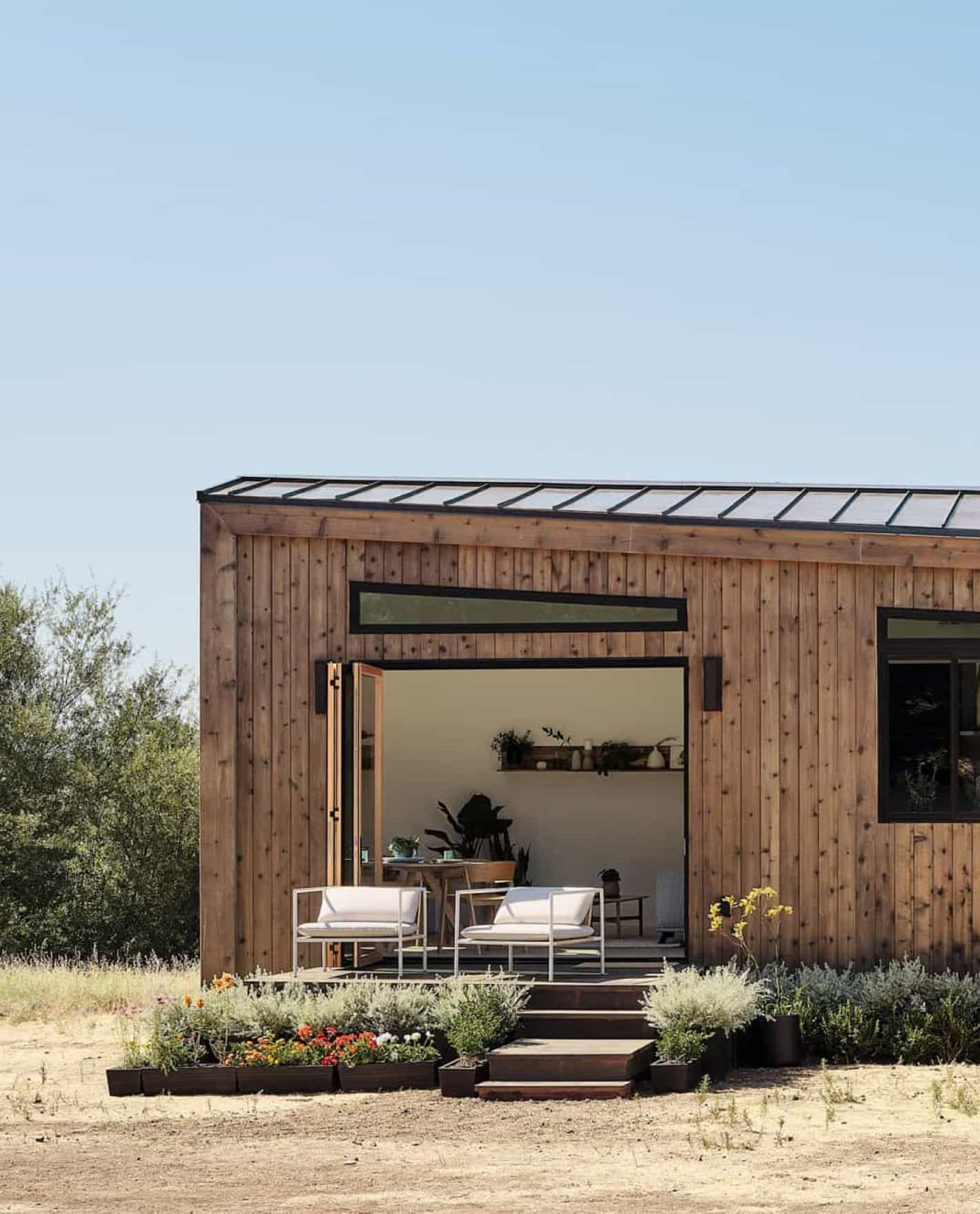Photograph of a modern storage container home.