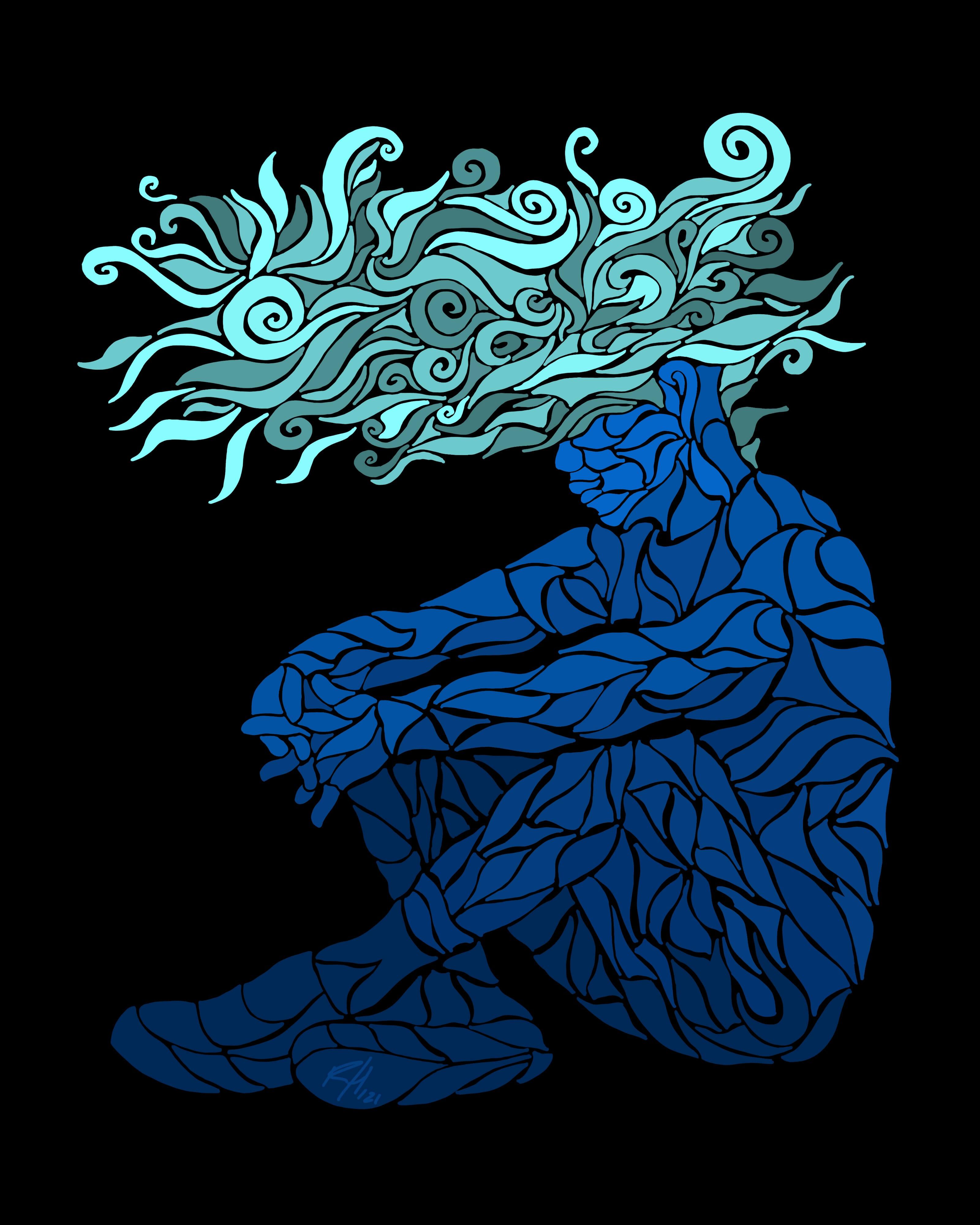 abstract drawing of a man thinking