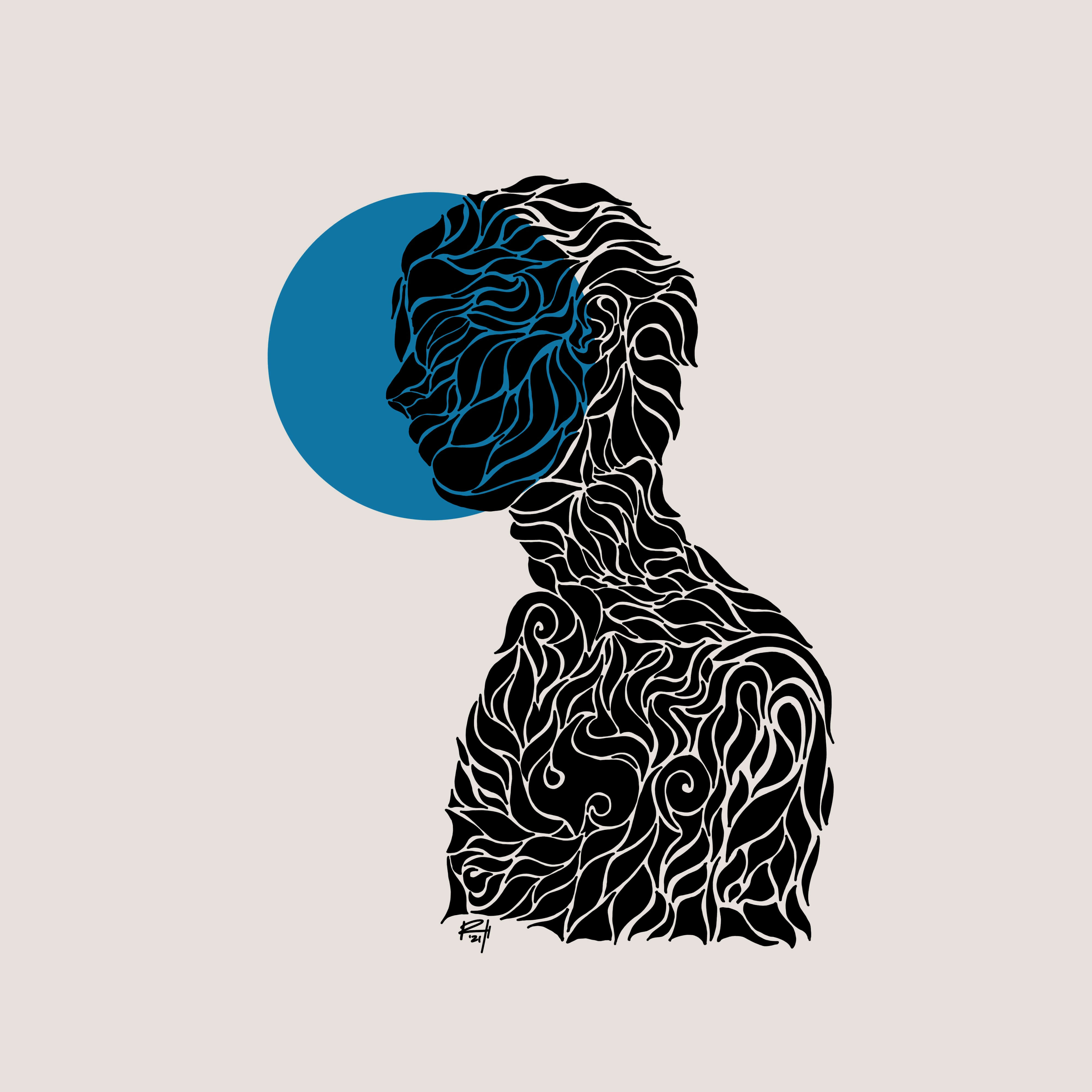 abstract drawing of a person thinking