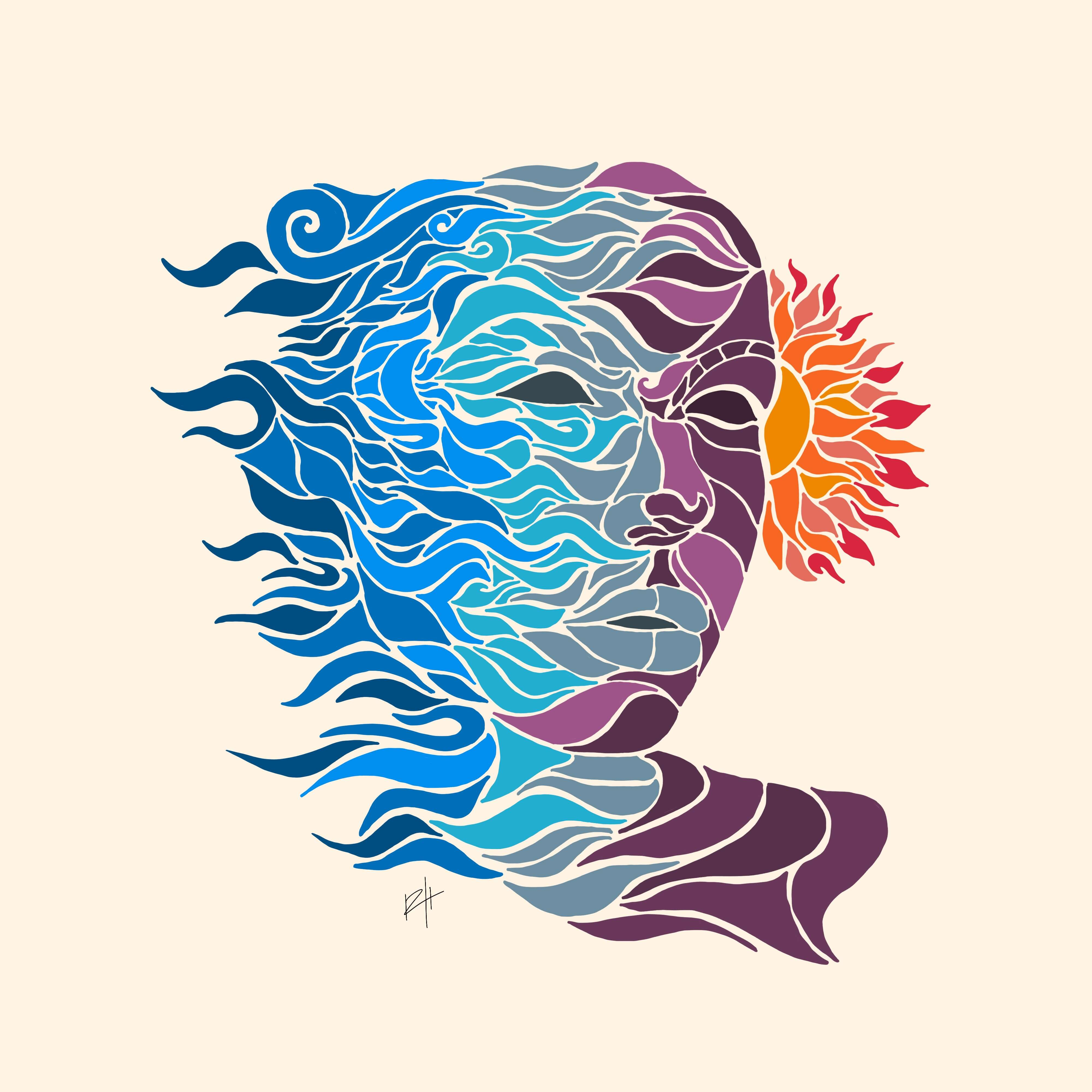 abstract drawing of a person looking at the sun