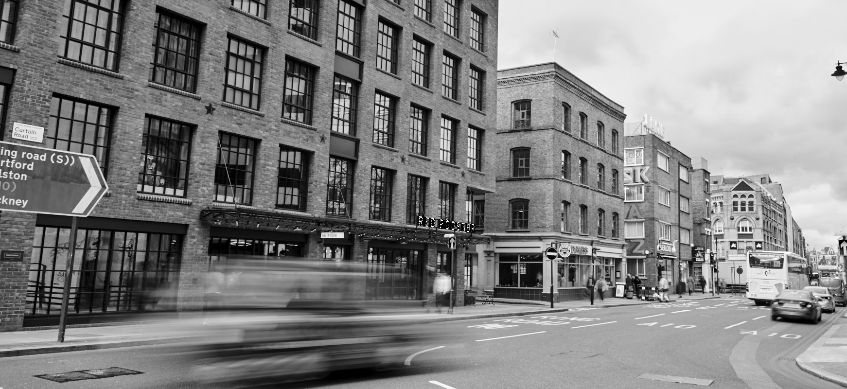 An image of East London streets shot in black and white