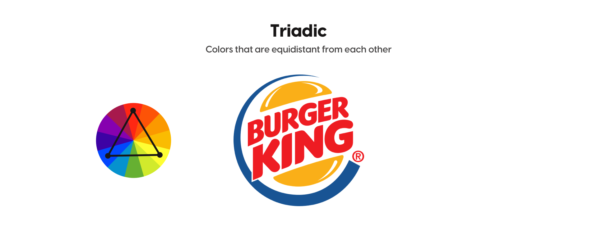 Example of triadic colors with Burger King