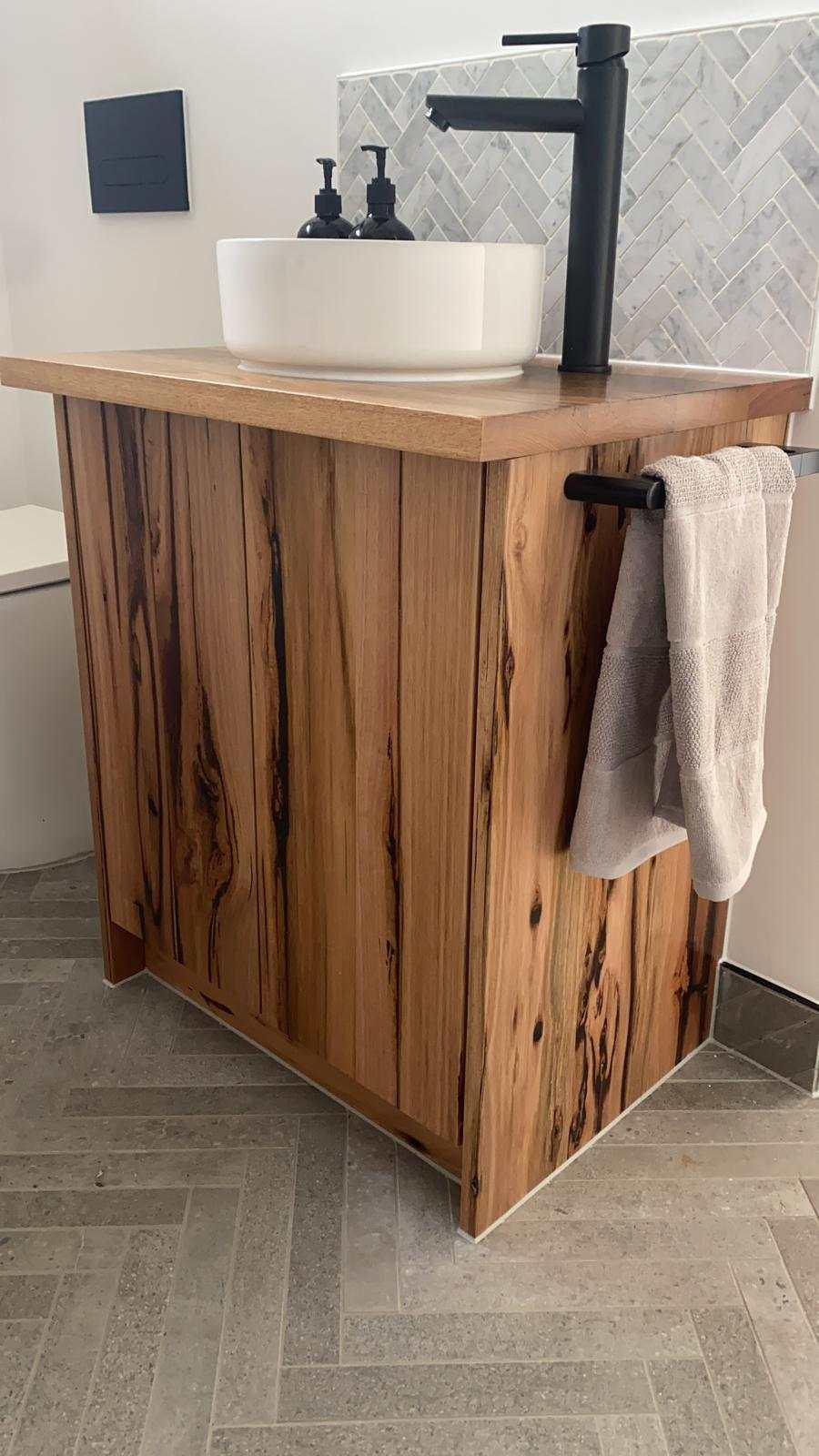bathroom vanity wormy chestnut