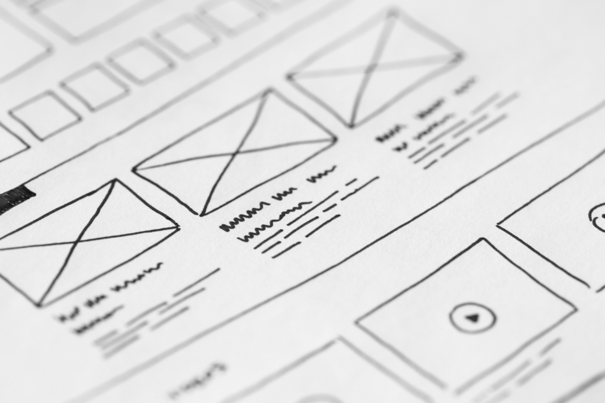 Hand drawn image illustrating a user interface layout.