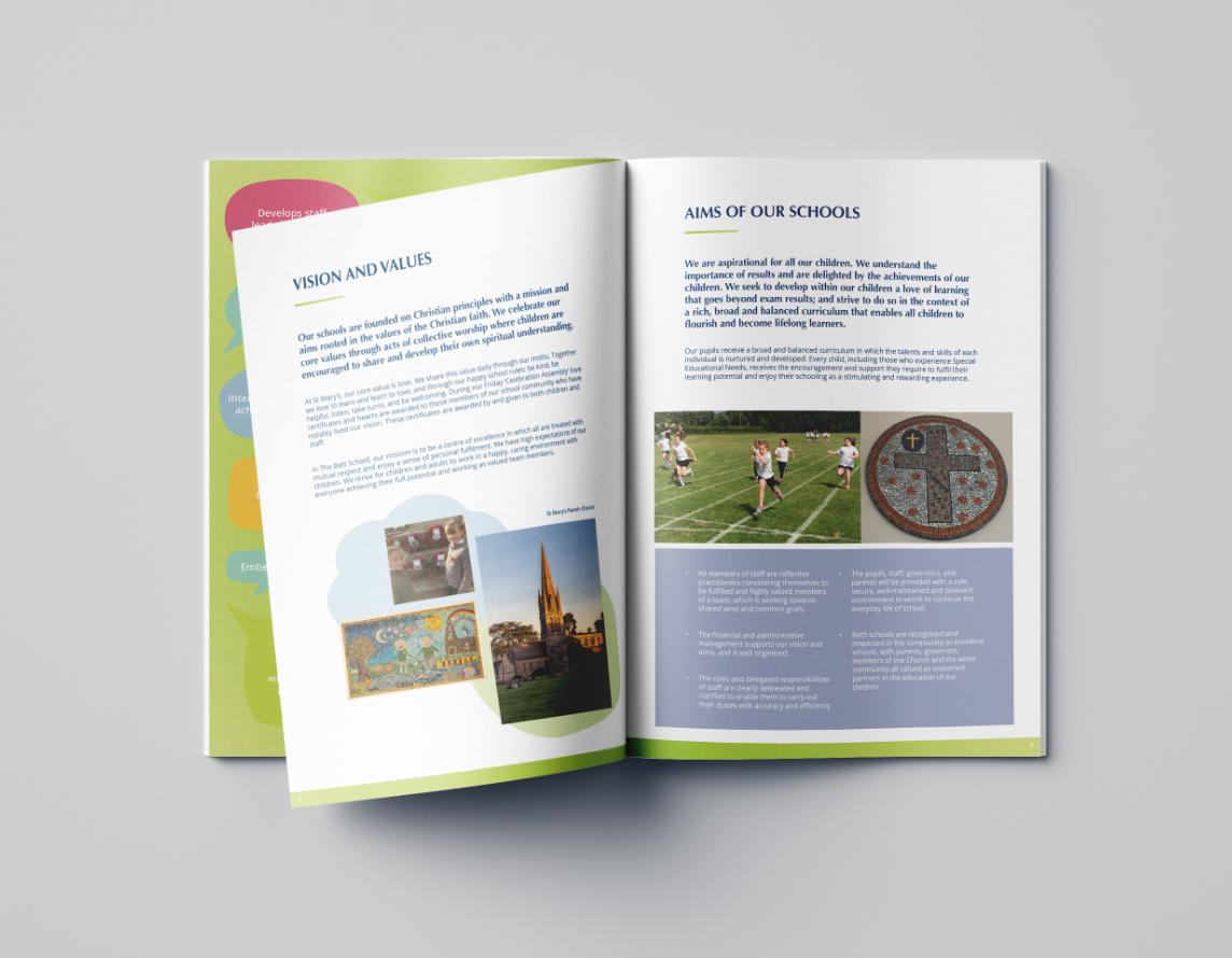 Informative brochure advertising a headteacher job position.