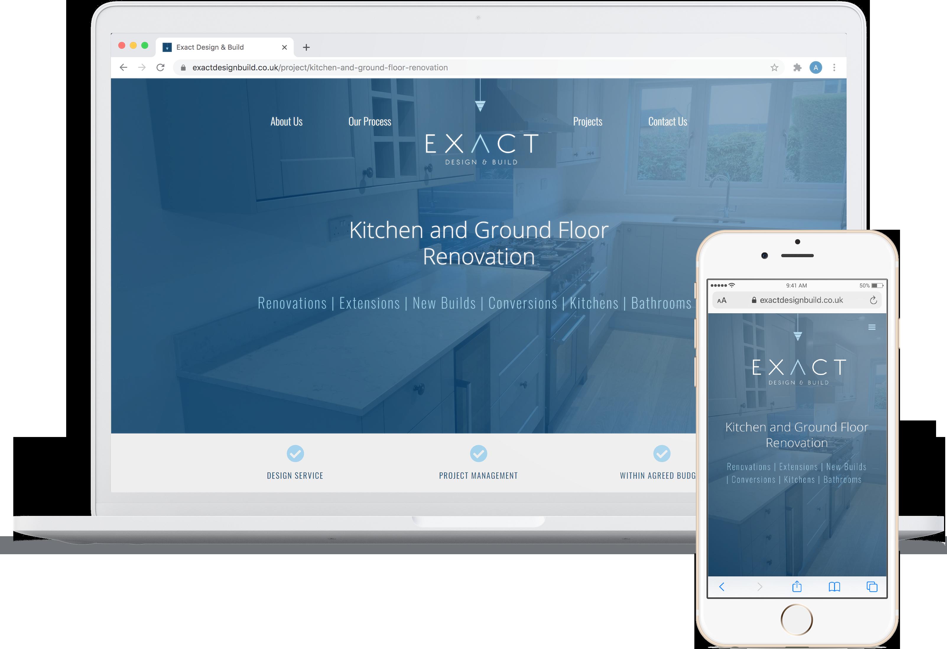 Exact Design & Build website