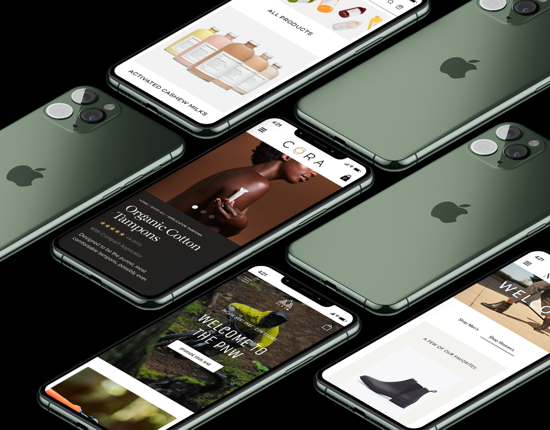 A group of iPhones displaying websites built by Pique