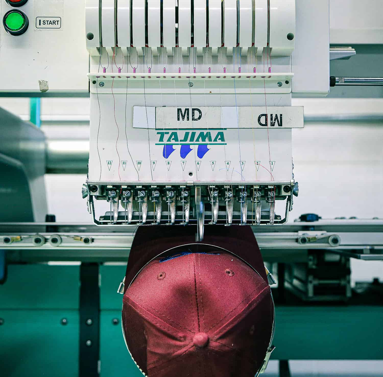 Embroidery machine with hat