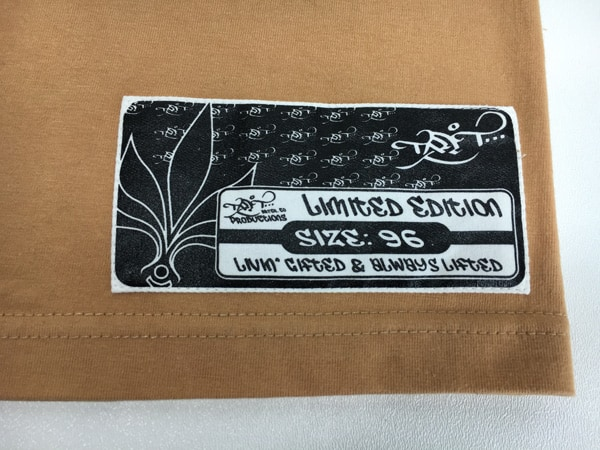 Woven label on tall t productions shirt
