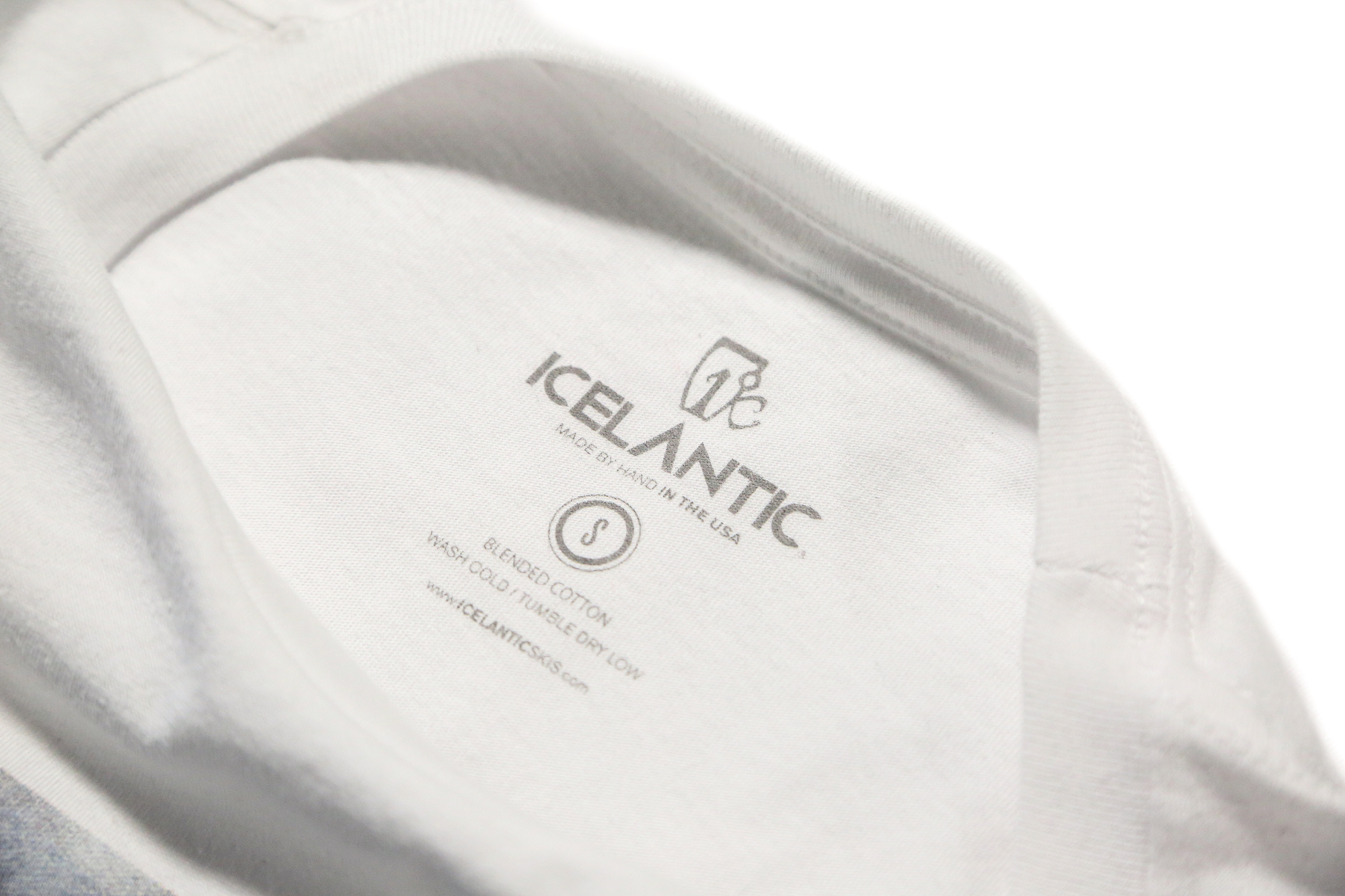 Icelantic printed neck tag on tee shirt