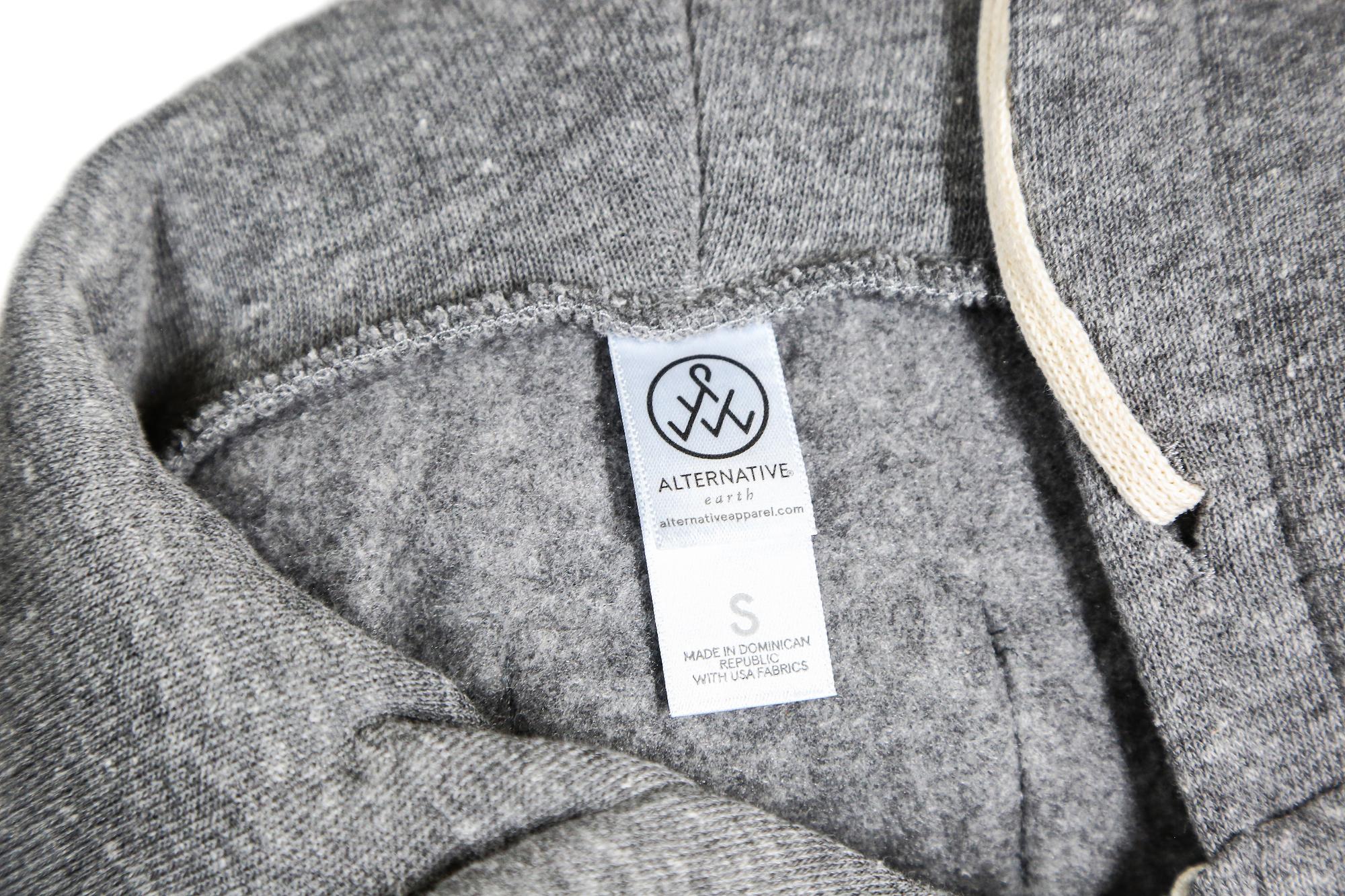 close up of alternative apparel neck tag inside shirt