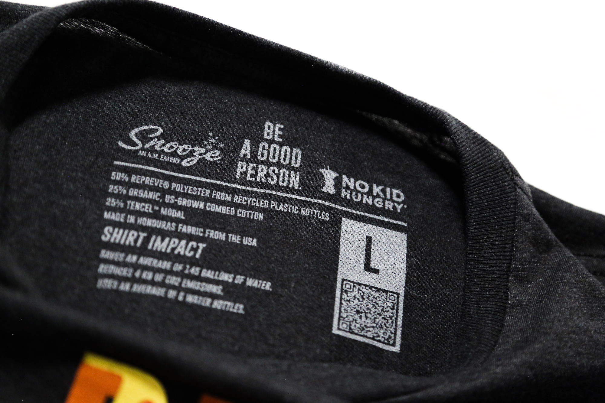 Snooze eatery screen printed neck tag