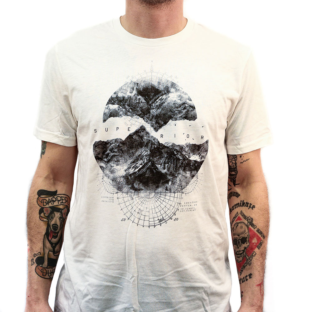 Black and white detailed t-shirt printed with water based ink