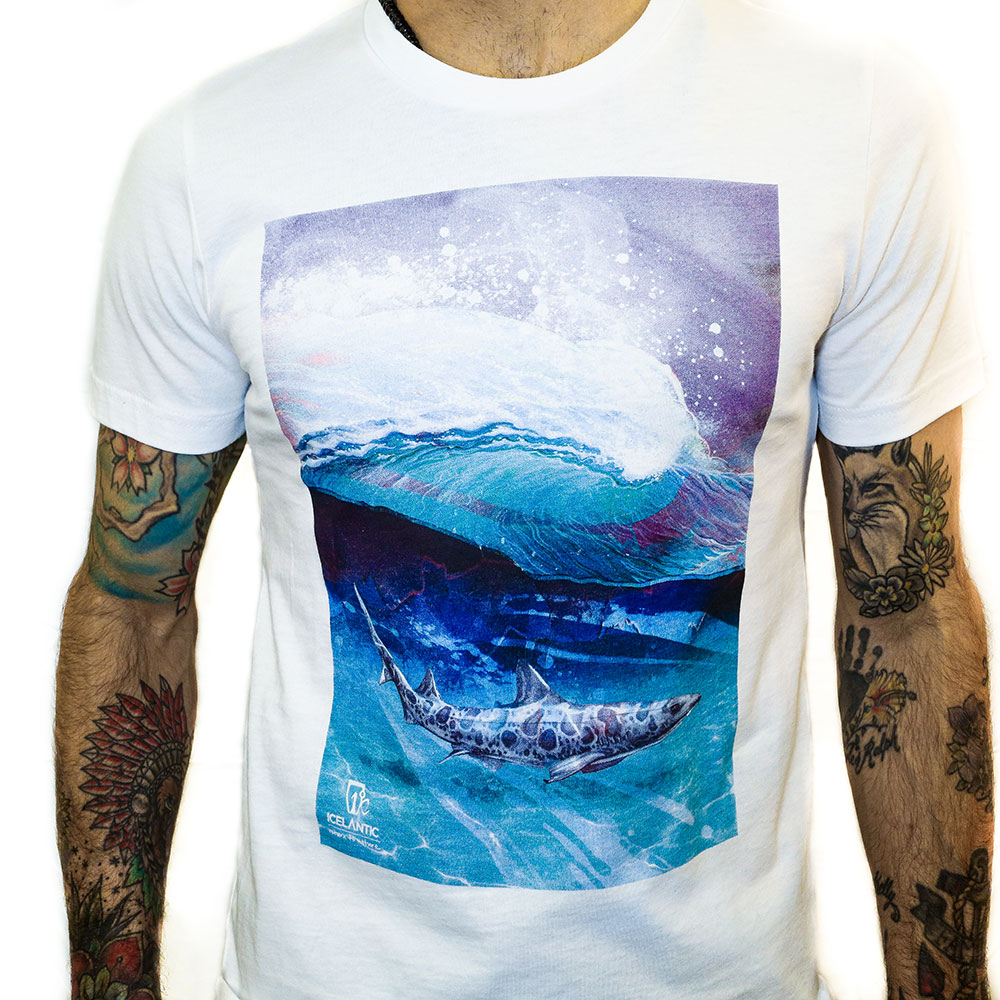 Wave with whale under water t-shirt design screen printed