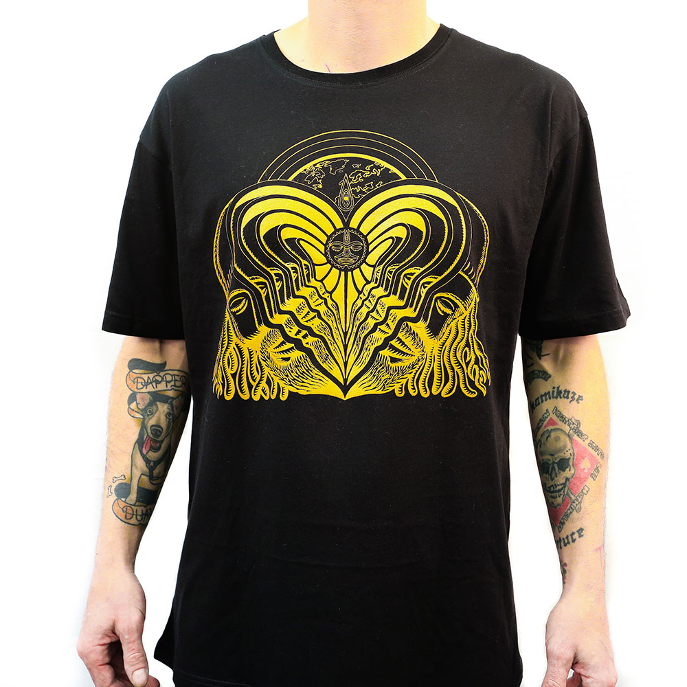 Gold heart printed on black t-shirt by superior ink