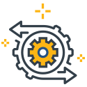 Icon for Octavian Technology Group's machine learning and data science service - a mechanical gear graphic
