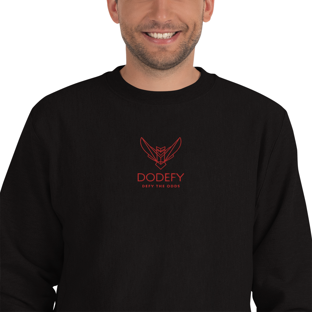 Champion Sweatshirt Embroidered Red Front Logo Front