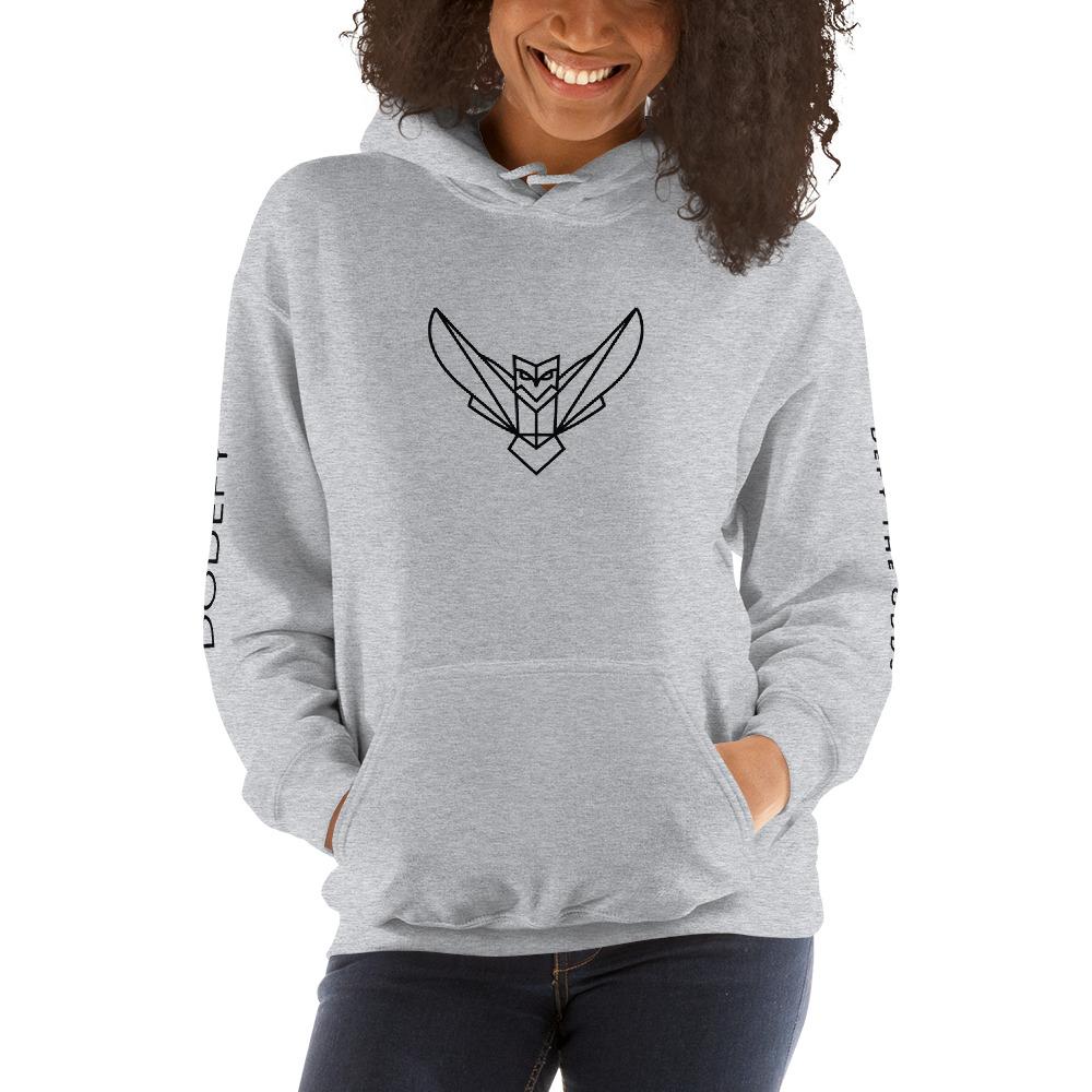 Women's Hoodie Dodefy Owl Logo & Arm Logos Black Logo