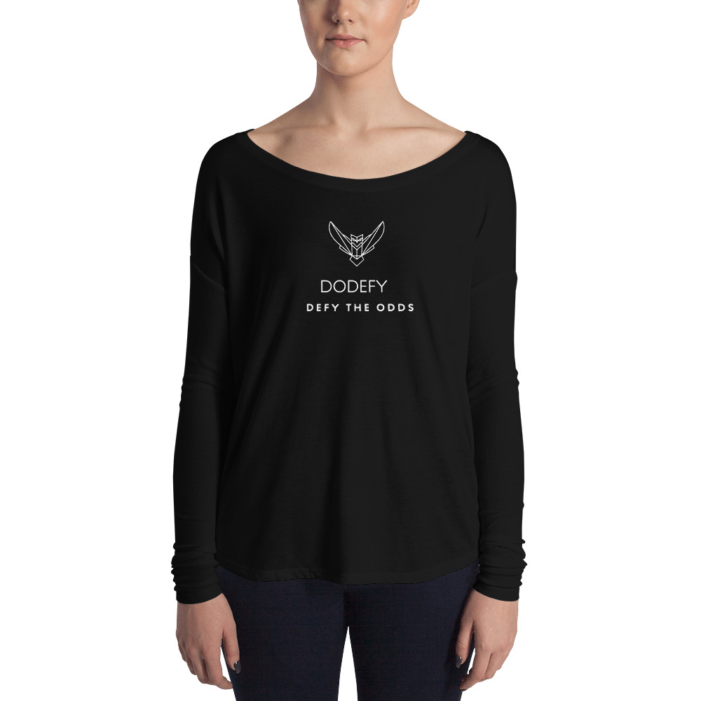 Women's Long Sleeve Tee Dodefy Official White Logo