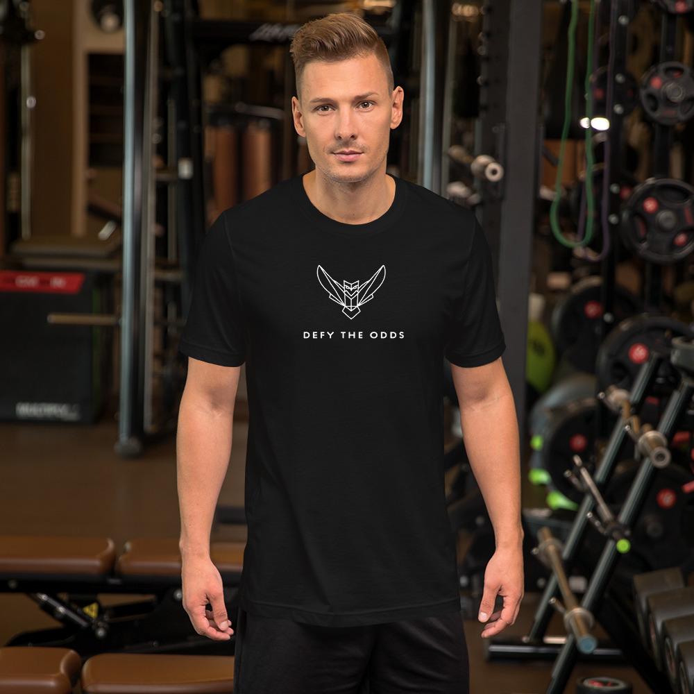 Short-Sleeve Men's T-Shirt White Dodefy Logo with Defy the Odds