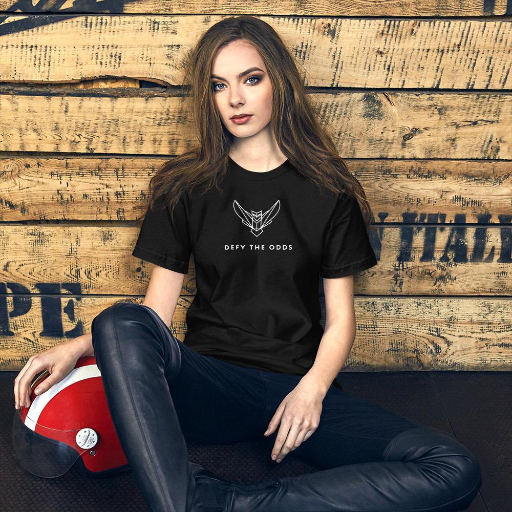 Short-Sleeve Women's T-Shirt White Dodefy Logo with Defy the Odds